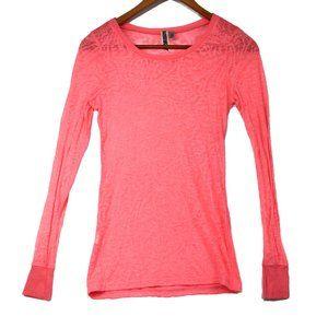 BKE Buckle Women's Pink Sheer Long Sleeve Top